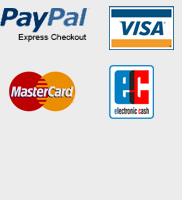 Bezahloptionen Paypal, Visa, Mastercard